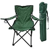 Tri-polar Outdoor Folding Portable Oxford Fabric Camping Leisure Chair Armchair with Carrying Bag for Camping/Picnic/Hiking/Motorcycling/Bicycling/Fishing/Garden BBQ/Beach/Patio Green