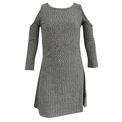 Eisend - Mädchenkleid Langarm Strickkleid schulterfrei, grau - 573305, Größe 164