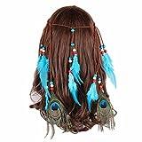 indien Coiffe avec 2pcs plumes de paon 8pcs plumes autruches hippie Bandeau Boho Headwear Carnaval Tête pièces accessoires cheveux pour dragées