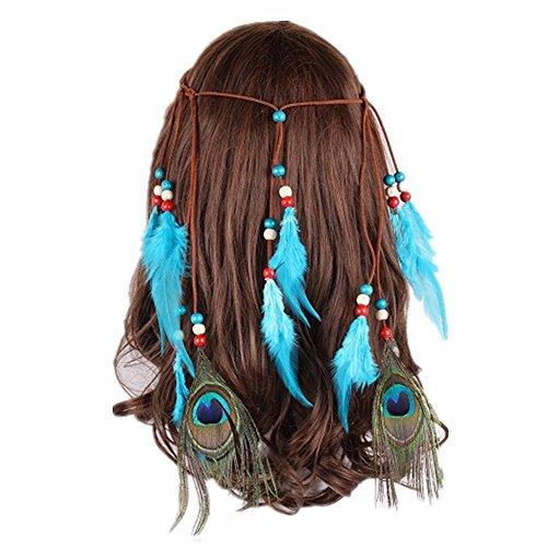 Tocado indio con 2 plumas de pavo real, 8 piezas de plumas de avestruz