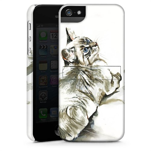 Apple iPhone 5s Housse Étui Protection Coque Chat Petit chat Kitten CasStandup blanc