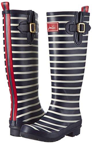 Joules Damen-Gummistiefel, Wellyprint, Regen-Stiefel - Navy (gestreift)