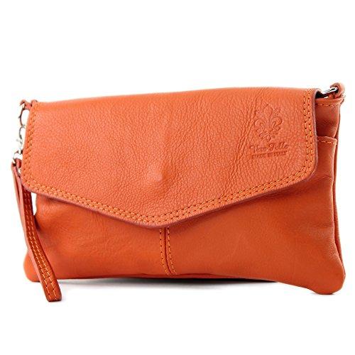 ital. Ledertasche Damentasche Clutch Umhängetasche Handgelenktasche Klein Nappaleder T47 Orange