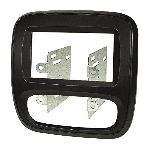 tomzz Audio ® 2439-003 Doppel DIN Radioblende für Opel Vivaro B ab 2014, Renault Trafic III ab 2014, FIAT Talento ab 2016, schwarz Klimaanlage manuell