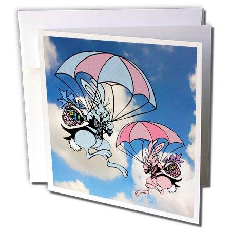 Fallschirmspringen Ostern Bunnies mit Fallschirm und Wolken–Grußkarte, 15,2x 15,2cm, Single (GC 164734_ 5)