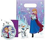 Party Pack Disney Frozen Die Eiskönigin Snowflakes - 6 Einladungskarten und 6 Partytüten für Kindergeburtstag