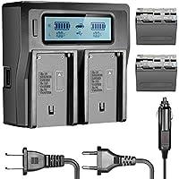 Neewer 2 Piezas 6600mAh Batería Reemplazo de Li-Ion para Sony NP-F970 NP-F970 NP-F960 NP-F975 NP-F570 NP-F750 NP-F770 y Cargador Dual LCD,para Neewer Luz LED Video CN160,Monitor NW759 74K 760