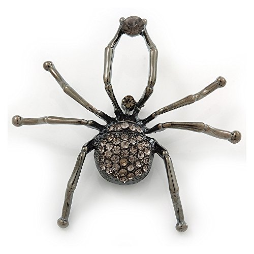 Unbekannt Avalaya Giant Dim Grey Crystal Spider Brosche in Gun Metal Finish - 7 cm Länge