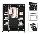 Todeco - Stoffschrank, Stoff-Garderobe - Material: Edelstahlrohre - Abschlusstyp: Klettteile und Reißverschluss - 3 Türen, 172 x 134 x 43 cm, Schwarz, Räder