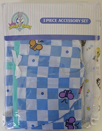 Baby Looney Tunes 3 Piece Garden Party Accessory Set - Crib Skirt, Flannel Receiving Blanket, Diaper Stacker