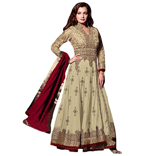 Anarkali ( Shoponbit Heavy Full Embroidered Neck Work Beige Color Wedding Wear Anarkali Suit )