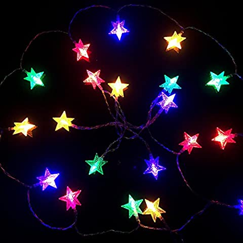 cuzile 5.5M 50er Sterne Lichterkette – Mehrfarbig sterne Form – Licht batteriebetrieben – bis Urlaub Weihnachten Baum und Outdoor –für Party, Garten, Weihnachten, Halloween, Hochzeit, Beleuchtung Deko