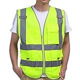 iiniim Unisex Reflektierende Sicherheitsweste Warnweste Verkehrswarnweste Baustellenweste mit Taschen M L XL XXL Gelb-grün M
