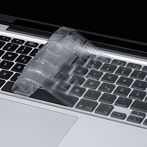 HOOMIL Tastaturschutz Silikon Tastaturfolie für Apple MacBook Air 13''/ Pro Retina 13''/ 15'' (bis Mitte 2016) - Transparent Test