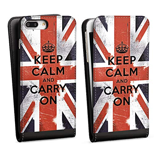 DeinDesign Flip Case kompatibel mit Apple iPhone 7 Plus Tasche Hülle Keep Calm and Carry On Phrases Sprüche - Polycarbonate Carry On