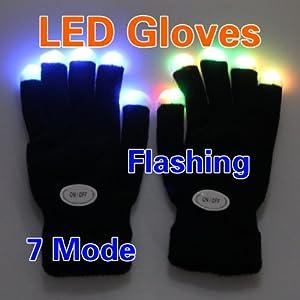VKtech® Paire de gants lumineux Lampes LED 7 modes Noir