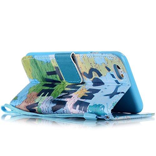 Copertura per iphone 6 in pelle, iphone 6S Custodia Portafoglio, iphone 6 4.7 Case Cover, Ukayfe porpora-Dandelion Design dellunità di elaborazione di vibrazione del cuoio di protezione del basament blu-Mappa del viaggiare per il mondo