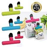 Clips de plástico para bolsas de patatas fritas, gran agarre, varios colores para bolsas de café y alimentos, 6 unidades