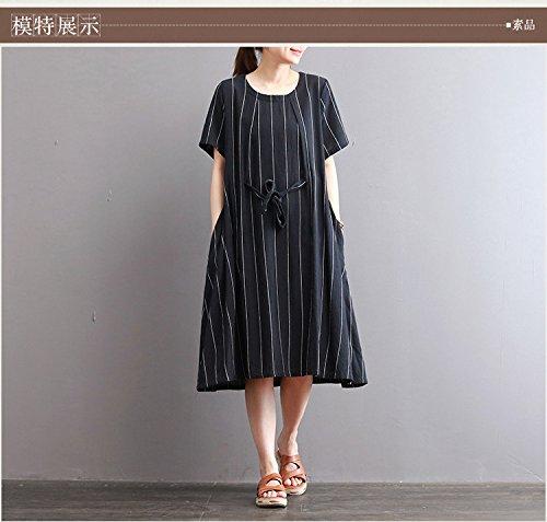 mode - streifen - kleid, lose größe, kurze ärmel, langen rock l