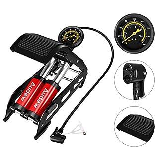 Audew Fußpumpe Luftpumpe Auto Pumpe Fahrrad 2 Zylinder mit Manometer bis 10BAR und mit universal-pumpekopf für FV/AV/DV 160PSI
