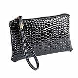 Tonsee Damen Krokodil Leder Clutch Handtasche Tasche Geldbörse (Schwarz)