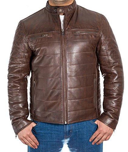 Herren-Brown-Leder Puffer und gewelltes Jacke, Rei§verschluss an der Vorderseite mit Tab-Kragen, Braun, XS (Tab-kragen-jacke)