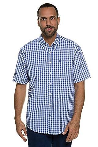 JP 1880 Herren große Größen   Halbarm Hemd kariert   100 % Baumwolle   Karohemd im Modern Fit   Button-Down-Kragen, Seersucker & Struktur-Qualität   Bis Größe 7 XL   blau L 708642