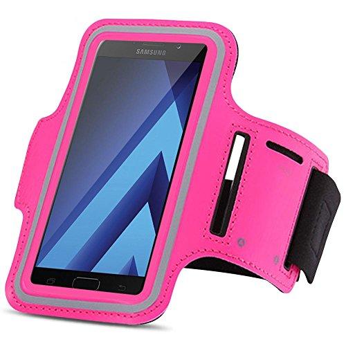 Samsung Galaxy A5 2017 Jogging Tasche Handy Hülle Sportarmband Fitnesstasche Bag, Farben:Pink