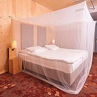 MAVE ATHLETIC Premium Moskitonetz für Doppelbetten im kastenförmigen XXL Format [220cm x 200cm x 200cm] - Inklusive Reparaturset und Befestigungsmaterial
