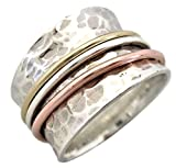 "Energy Stone ""GELASSENHEIT"" zugespitzter dreifarbiger Sterlingsilber Drehring (Style# UK12) (62 (19.7))"