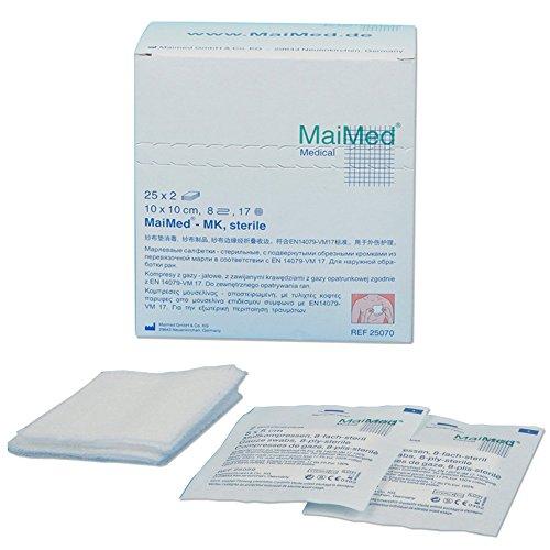 Maimed - sterile Mullkompressen - weiß - 5 x 5 cm - 50 Stück