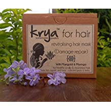Krya Damage Repair Revitalising Herbal Hair Mask – for weak, chemically damaged, over processed hair- made from 23 rich Ayurvedic herbs & oils that heal, revitalise & restore health to hair - SLS free, SLeS free, Sulphate free, Paraben free, Silicone free, Chemical free , All Natural - 100 gm