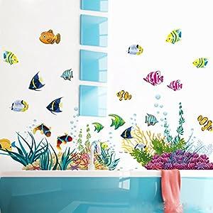 WandSticker4U- Wandtattoo UNTERWASSERWELT bunt | Wandbilder: 130x42 cm | Fische Sticker Meer Tiere Korallen See | Wasserfeste Fliesen-aufkleber Wand Deko für Kinderzimmer Kinder Badezimmer Bad