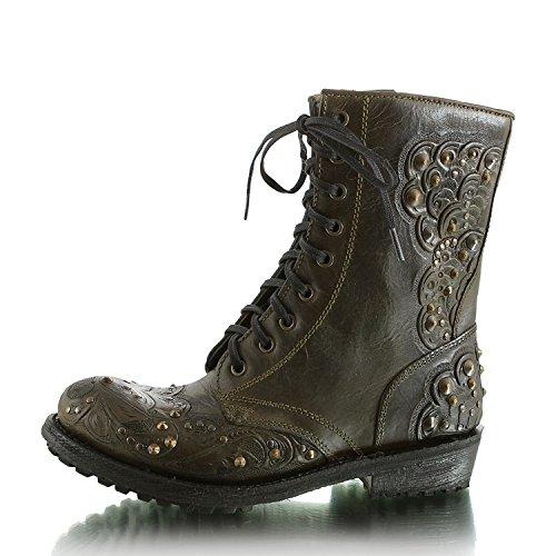 silver 12203132 Boots Biker Studs Ash 9035 Mehrfarbig military Rocky Damen 2 Tarnish FpqpT