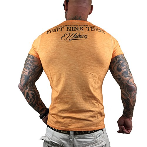 Yakuza T-Shirt L.A. Skull TSB8010 Blazing Orange Oil Washed