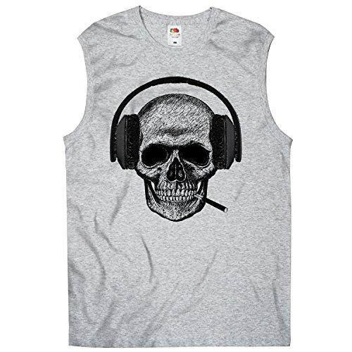 Tee-shirt, Men T-Shirt Skull-headset Grigio