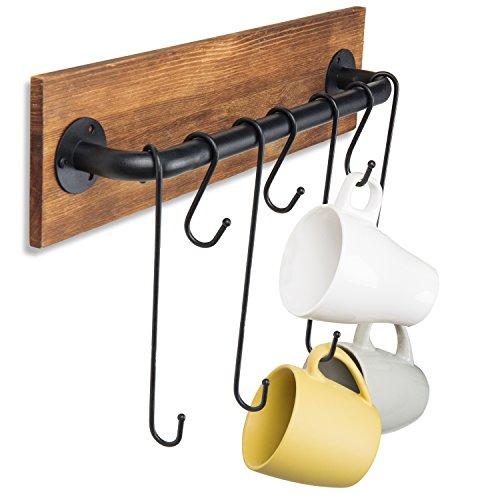 MyGift 7-Hook Rustikal Holz & Metall Wandmontage Cup Rack