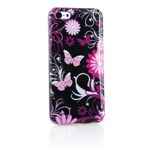 Kit Me Out TPU-Gel-Hülle für Apple iPhone 5C - Schwarz Graffiti Schmetterling Schwarz Rosa Blumen und Schmetterlinge