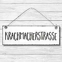Krachmacherstrasse - Dekoschild Türschild Wandschild Holz Deko Schild 10x30cm Holzdeko Holzbild Deko Schild Geschenk Mitbringsel Geburtstag Hochzeit Weihnachten