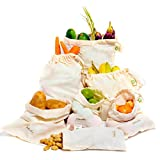 "Sac de produits réutilisables Muslin Organic - Set de 6 (2 grands, 2 moyens, 2 petits) Tous les sacs de produits en coton organique naturel de coton et de lin (8x10 "", 10x12"", 15x12 ')"