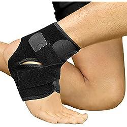 BRACOO Fußbandage - Sprunggelenkbandage - Knöchelschutz - Fußgelenkbandage | Fußgelenkstütze mit Klettverschluss beim Sport wie Volleyball, Fußball & Handball – für Damen & Herren | L/XL