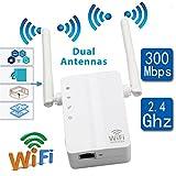 VIVIJIA 802.11N / B/G Amplificador De Señal De Repetidor WiFi Inalámbrico 2 Antenas Extensor De Rango 300Mbps Potenciadores De Señal Cifrados Repetidor WPS