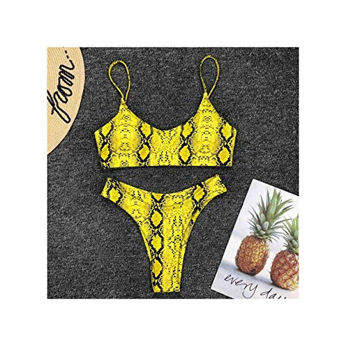 Bikini de Leopardo Sexy Traje de baño para Mujer Traje de baño Femenino Conjunto de Bikini de Dos Piezas Traje de baño de baño brasileño Natación Estampado Amarillo S