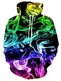 RAISEVERN Frauen Männer Fun Hoodies HD 3D Print Kapuzenpullover Aquarell Muster Pullover Sweatshirt für die Jugend Indoor Outdoor