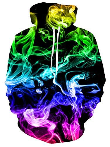 Spreadhoodie Smoke Jumper für Herren Damen 3D Bunte Feuer Rauch Realistisch Gedruckt Pullover Sweatshirt mit Kordelzug Hoody Unisex Schwarz L Schwarz Unisex Pullover