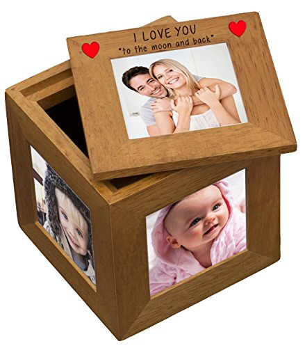 I Love You To The Moon And Back Natural Oak Wooden Multi Photo