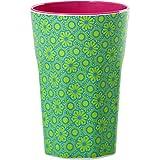 rice Becher Melamine Two Tone Latte Cup Marrakesh Print MAX Temp. 90C (Green & Turquoise innen Bubblegum Pink)