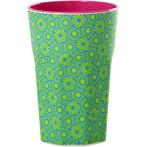 rice Becher Melamine Two Tone Latte Cup Marrakesh Print MAX Temp. 90C (Green & Turquoise innen Bubblegum Pink) Green Latte Becher