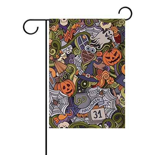 Doppelseitig Cartoon handeingezogen Doodles Halloween Spuk-Jack O Laterne Eule Polyester HAUS/Garten Flagge Banner 12x 18/71,1x 101,6cm für Hochzeit Party alle Wetter, Polyester, mehrfarbig, 12x18