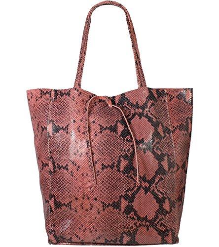 Freyday Damen Echtleder Shopper mit Innentasche in vielen Farben Schultertasche Henkeltasche Metallic look (Snake Koralle) -